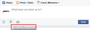 Facebook also gives you the option to add a location to your post.