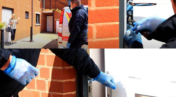 Locksmith wearing PPE - Greeting customer during Covid-19 (Coronavirus)