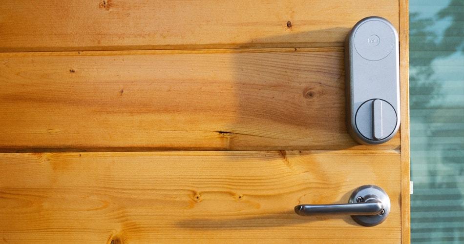 Yale Linus Smart Lock Installed On Wooden Door