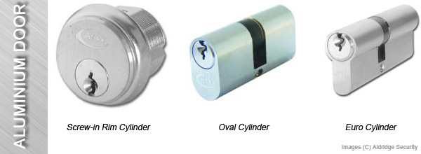 Aluminium Door Locks - Screw in Rim Cylinder, Oval Cylinder, Euro Cylinder