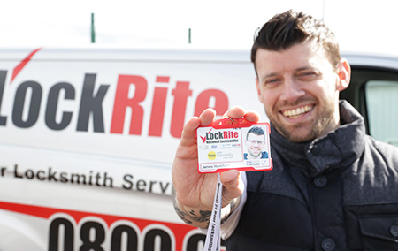 LockRite Locksmith Holding ID Badge - James