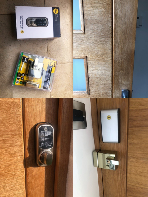Yale Keyless Connected Door Lock Fitted To Wooden Door