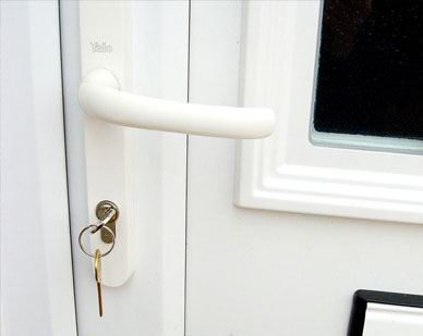 uPVC door, lock and handle