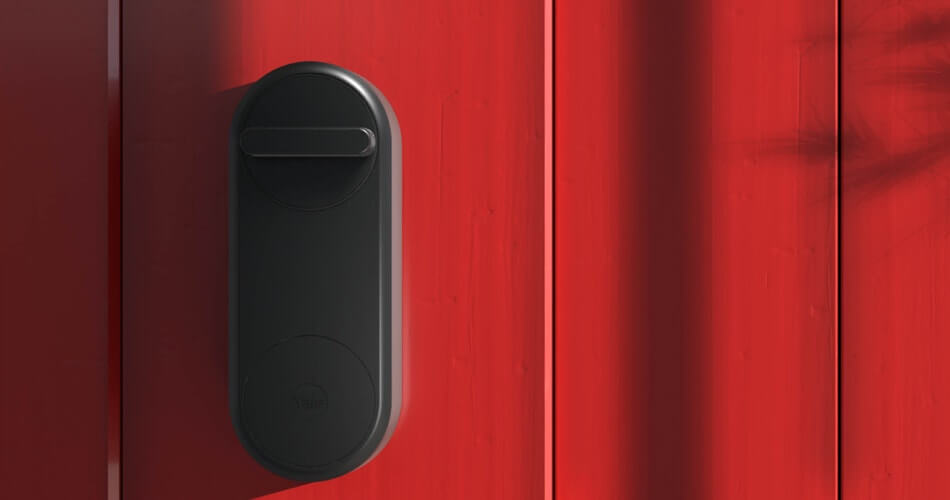 Yale Linus Smart Lock Fitted To Red Door